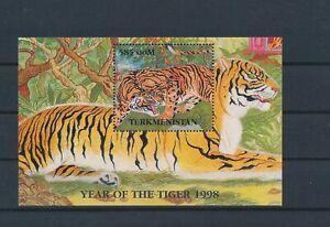 LO56552 Turkmenistan 1998 tiger lunar new year animals good sheet MNH