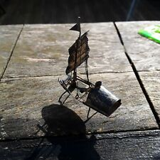 ANTIQUE CHINESE STERLING SILVER MINIATURE JUNK BOAT