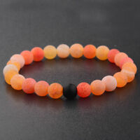 Couples Bracelets Orange Agate Black Lava Stone Bead Distance Elastic Bangle
