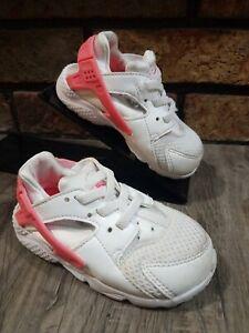 Nike Huarache Run White/Racer Pink 704952 108 Youth Size 7C Kids Girls