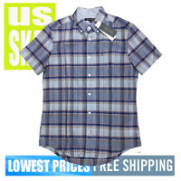 Tommy Hilfiger Men's NWT Grey Blue Check Button-Down Short Sleeve Shirt SMALL