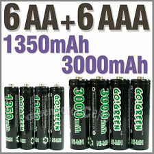 6 Piles rechargeables AAA 1350 mAh + 6 Piles rechargeables AA 3000 mAh - GOGREEN