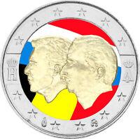 2 Euro Gedenkmünze Belgien 2005 coloriert / mit Farbe Farbmünze Wirtschaftsunion