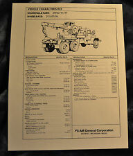 Vtg Am General Tech Sheet Drawings M933 W/W N