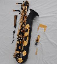 Professional Black Eb baritone saxophone Low A High F# sax with canvas cas