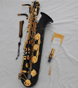 Professional Black Paint Gold Eb baritone saxophone Low A High F# +2necks