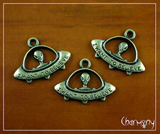 3x Antique bronze UFO charms ~I WANT TO BELIEVE alien grey flying saucer ET bead