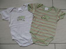 2 schöne Baby Body's - Jungen Kurzarmbody's - weiß + gestreift - Größe 74/80
