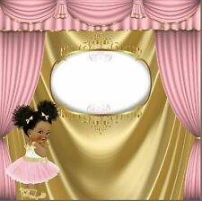 8x8FT Pink Curtain Gold Crown Girl Baby Shower Photo Background Backdrop Vinyl