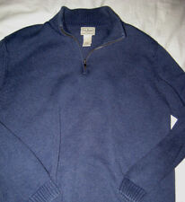 LL BEAN  SOFT COTTON SLATE BLUE SILVER PULL 1/4 ZIP POLO SWEATER-EXCELLENT-XL