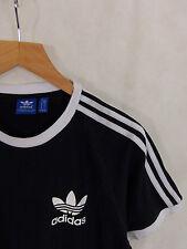Adidas Three Stripe Ringer Trefoil T-Shirt Medium Black White