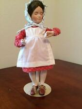"No Swimming Norman Rockwell Young Ladies Porcelain Doll 12"" Tall with Stand 1986"