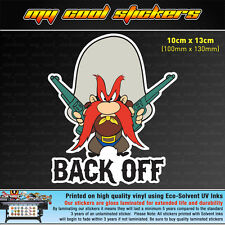 Yosemite Sam Back Off Vinyl Sticker Decal, 4X4 Ute Car Truck funny cartoon