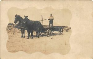 G68/ Occupational RPPC Postcard c1910 Delibery Horse Wagon Hauling 5