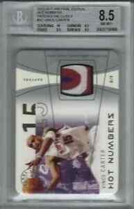 2003-04 FLAIR HOT NUMBERS PATCHES DIE CUT VINCE CARTER #3/3 RAPTORS BGS 8.5