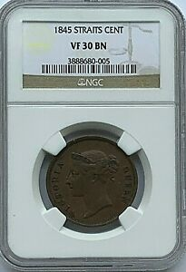 STRAITS SETTLEMENT - VICTORIA -  1845 CENT - NGC VF30BN  -  FREE SHIPPING!