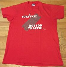 Vintage 1980's I Survived Boston Traffic 50/50% Red Paper Thin T Shirt. Size L
