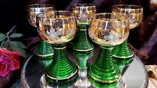 5CUT GRAPES, LEAVES Wine Glasses GREEN RING Stems GOLD PLATE BOHEMIA - GERMANY