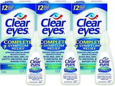 Clear Eyes, (Complete 7 Symptom Relief) Eye Drops, 0.5 Fl Oz (15 mL) (Pack of 3)