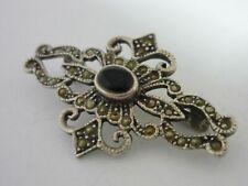 Stunning Vintage Sterling Silver Onyx, Marcasite Brooch