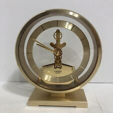 Vintage Linden Moving Gears Clear Gold Desk Mantel Clock Industrial Chic