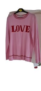 Brand new pink Pringle jumper size L with LOVE logo - ideal for Valentines Day