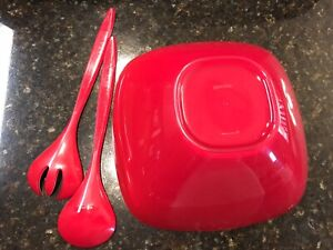 "Vintage Guzzini Salad Serving Bowl & Serving Set Red White Lucite Italy 10"""