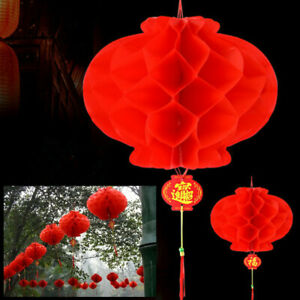 20X Chinese New Year Red Paper Lanterns Hang Lantern Tassel Hanging Party Decor