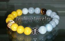 Sterling Silver Dragon Beryl A Aquamarine Jade Gemstone Yoga Stretch Bracelet