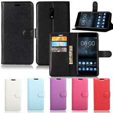 New Wallet Leather Case Cover For Nokia 3 / 5 / 6 & 8 + Screen Protector