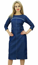 Bimba Women's 3/4 Sleeve Round Neck Blue Denim Dress Casual Shift Dress