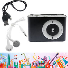 Mp3 Music Player Mini Metal Clip Support 32Gb Micro Sd Tf Card Earphone Black