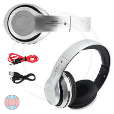 Foldable Wireless Bluetooth Stereo Silver Headphone FM Mic Handsfree Headphone