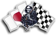 La muerte GRIM REAPER y Japón Japonés Hinomaru Racing Bandera Pegatina de vinilo coche