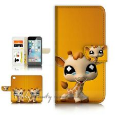 ( For iPhone 5 / 5S ) Wallet Case Cover P21452 Baby Giraffe