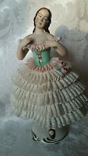 "Vintage Dresden Lace Figurine Ballerina 7"" OUTSTANDING CONDITION"