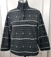 Jachs Cabin Women's Brushed Fleece Pullover Sweater Small Black Fair Isle