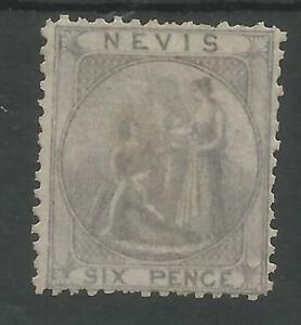NEVIS SG2 THE 1862 QV 6d GREY LILAC MOUNTED MINT CAT £160