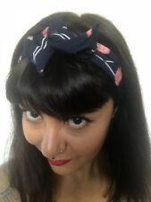 Bandeau foulard cheveux rigide cordon maléable bleu marine à flamants roses