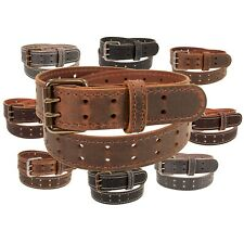"Mens Buffalo Leather Belt_Double Prong Buckle_1 1/2"" Width_Amish Handmade"