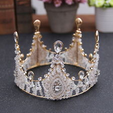 "4"" Round Crown Gold Drip Handmade Crystal Bridal Party Pageant Prom Tiara Crown"