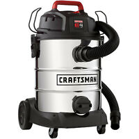 Craftsman 8 Gallon Stainless Steel 4 Peak HP Wet/Dry Vac - Accessories Included