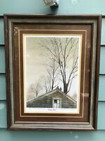 Michael Sloan Signed Print Snowy Morn framed matted birds barn snow
