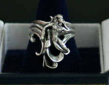 OOAK Sterling silver figural Nude Mermaid waves ring hand carved beach jewelry