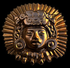 Aztec Inca Maya King Ancient wall relief plaque gold finish replica reproduction