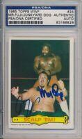 1985 Topps WWF Mr. Fuji + Junk Yard Dog Vintage Signed #24 PSA/DNA Rare Combo