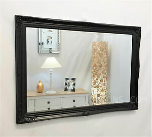 French Style Ornate Vintage Antique Design Bevelled Wall Mirror 60x90cm Black