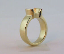 1.5CT Solitaire Ring Setting 14K Solid Yellow Gold 1/2 Bezel  Mounting For 7.5mm