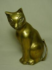 Vtg Brass Siamese Cat Kitten Doorstop Bookend Old Metal Doll Statue Figurine