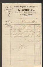 """MOULINS (03) CHAUSSURES """"A LA BOTTE D'OR / A. CHEMEL"""" en 1907"""